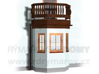 Arkýř pětiboký s balkonem