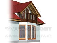 Arkýř široký s balkonem a vikýřem
