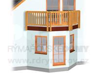 Arkýř trojboký úzký s balkonem