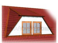 Dvouokenní vikýř s pultovou střechou a šikmými boky