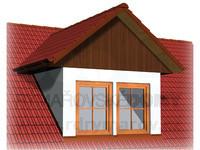 Dvouokenní vikýř se sedlovou střechou